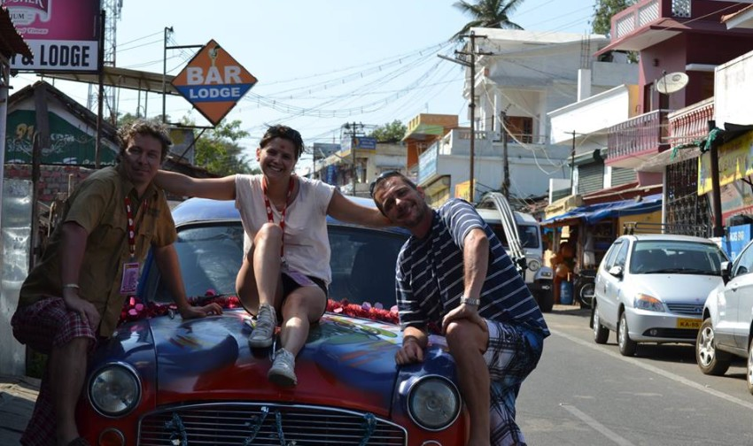 Rabbit Adventures keep smiling despite the dent in the car. Photo courtesy of Viktória Vitányi from team Rabbit Adventures.