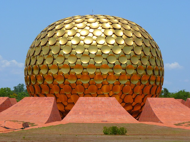 Matri Mandir Ashram Gold Auroville Golden Dome